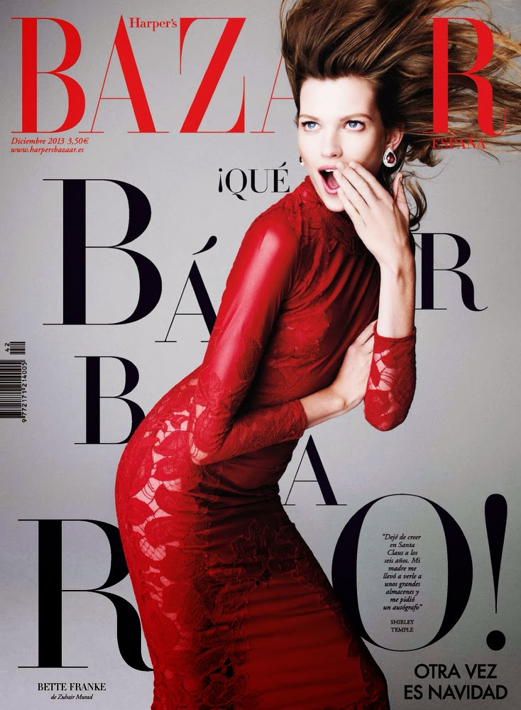 Bette Franke Harper's Bazaar Spain December 201Wow finally a model with some attitude here, l mean after Gisele Bundchen I haven't see any model change expression like her. I'm amazed with the model Bette Franke, she's not beautiful but sound like fun, and in fashion you must be little be different, because the rest is already taken.  <a href=