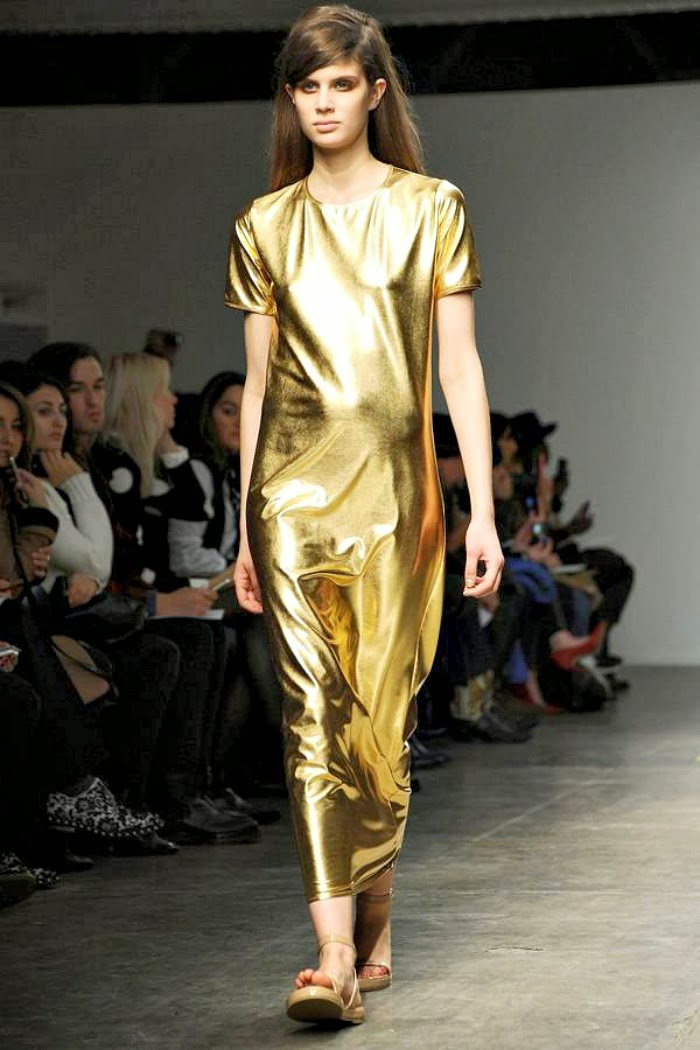 NYFW Karolyn Pho Fashion Show FallWinter 2014 Louboutins and Love Fashion Blog fashion week look neutral nude tone slouchy pants gold jersey black menswear inspired Esther Santer models runway girl brunette pretty out