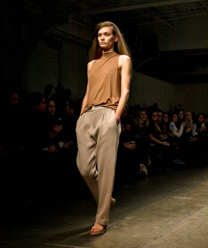 NYFW Karolyn Pho Fashion Show FallWinter 2014 Louboutins and Love Fashion Blog fashion week look neutral tone nude slouchy pants gold jersey black menswear inspired Esther Santer models runway girl brunette pretty bea