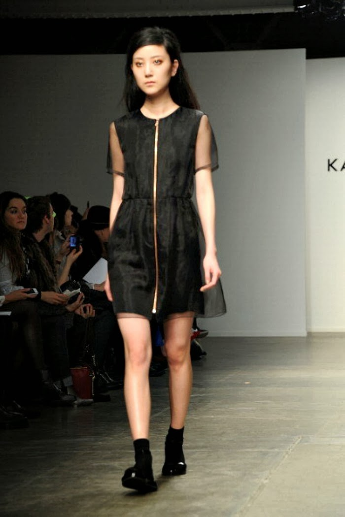 NYFW Karolyn Pho Fashion Show FallWinter 2014 Louboutins and Love Fashion Blog fashion week look neutral tone nude slouchy pants gold jersey black menswear inspired Esther Santer models runway girl brunette pretty out