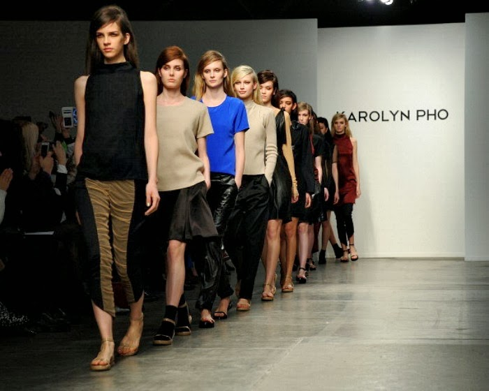 NYFW Karolyn Pho Fashion Show FallWinter 2014 Louboutins and Love Fashion Blog sandals heels look neutral shoes nude slouchy pants gold jersey black menswear inspired Esther Santer models runway girl cobalt pretty out