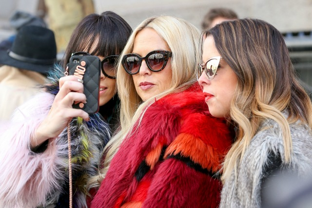 Rachel Zoe and husband seen leavig the Tommy Hilfiger  Show in New York City.