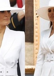 First Lady Melania Trump in  Michael kors and Herve Pierre Hat.